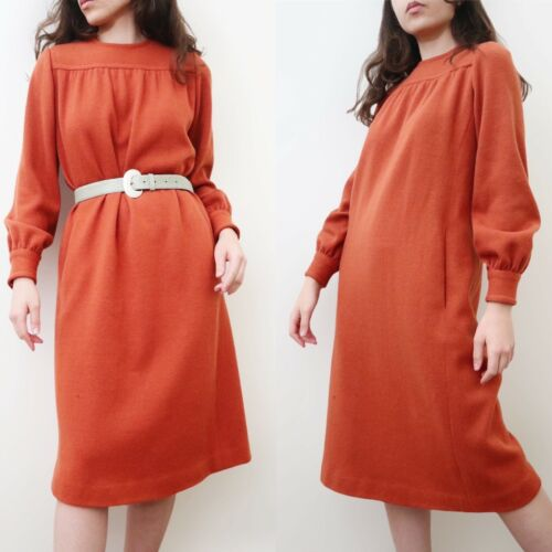 Vintage 1960s Givenchy Wool Mod Sack Dress Rust Or