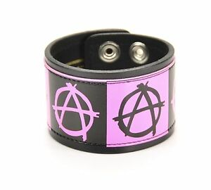 Black-Pink-Anarchy-Punk-Goth-Genuine-Leather-Bracelet