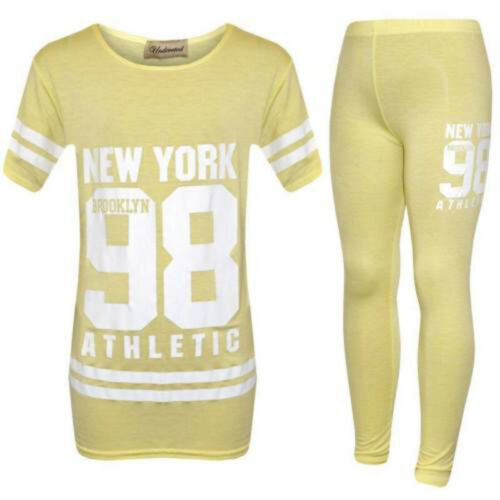 Kids Girls New 98 New York Printed Camouflage Two Piece Set Tracksuit 2-13 Years