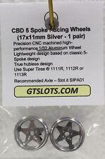 CB DESIGN CBD 0040 5 SPOKE SILVER RACING ALUMINUM WHEELS 17x11 1/32 SLOT PART