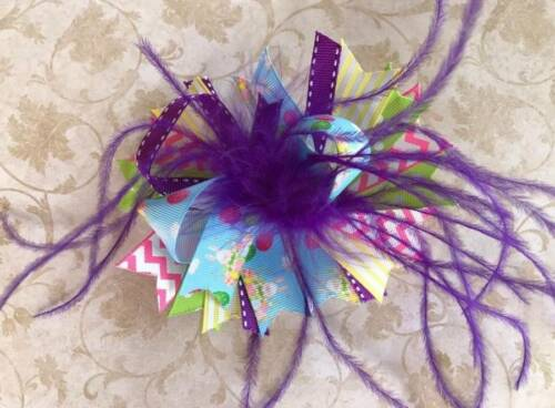 """Purple Pink Green Yellow Easter Bunnies Eggs Feather Hair Bow 5/"""""""
