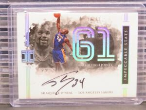 2016-17 Impeccable Shaquille O'Neal Impeccable Stats Auto Autograph #50/61 N95