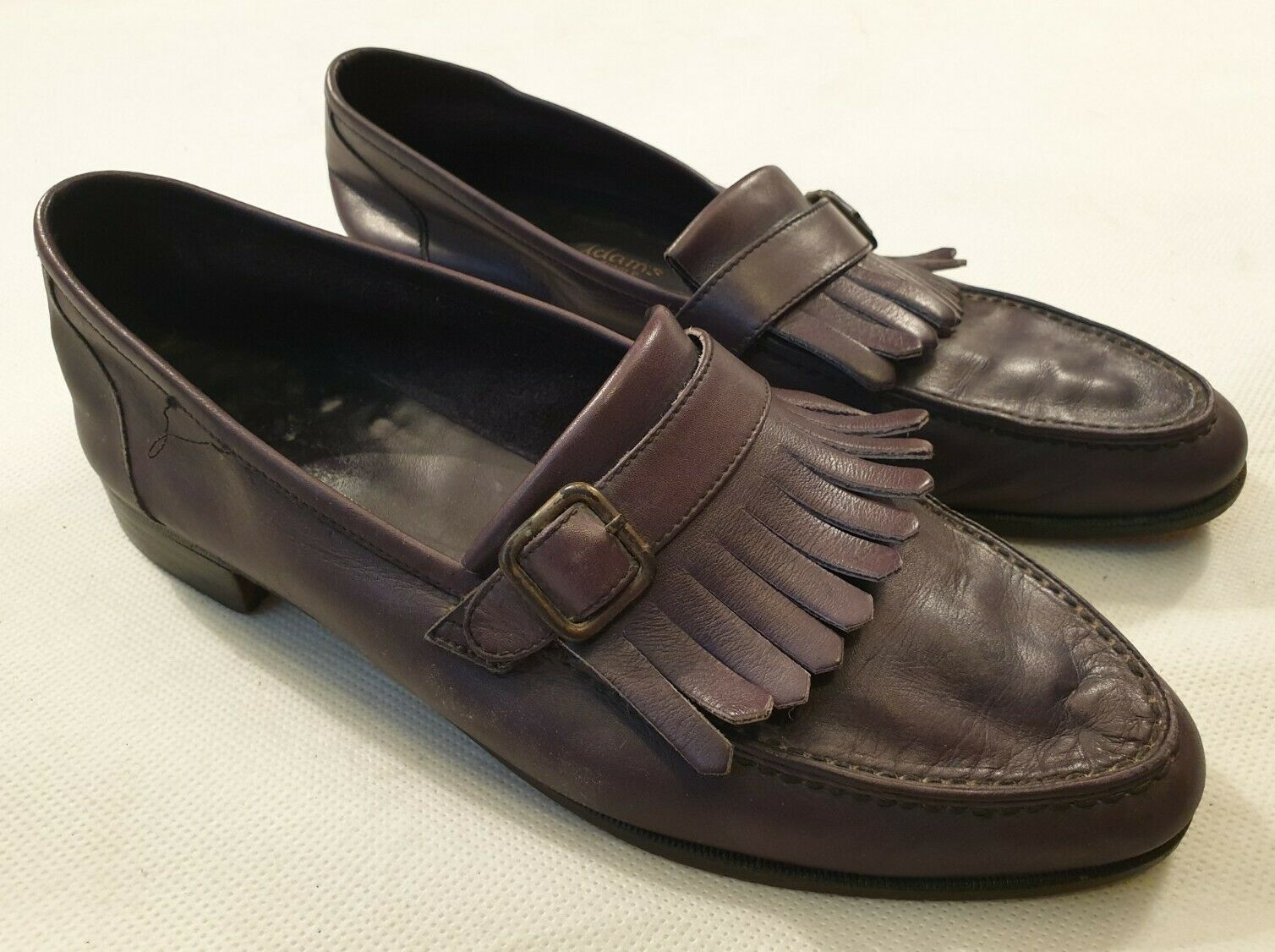 Stacey Adams Leather Loafer Shoes with Kiltie Tassles and Buckle UK Size 8.5