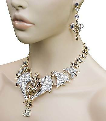 Winged Skeleton Necklace & Earrings Set. Clear Crystals, Chic Punk, Drag Queen