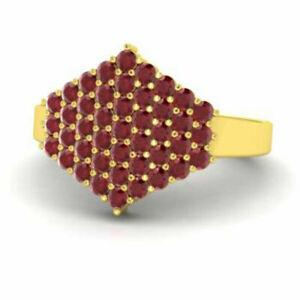 Round Cut 0.86 Ct Ruby Gemstone Women's Ring 14K Yellow Gold Size M N O P