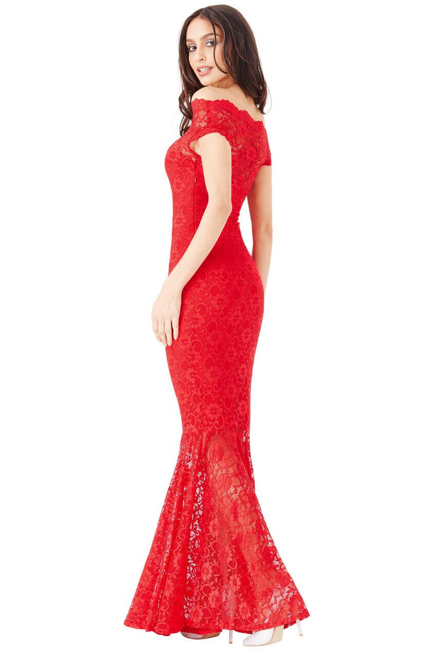 Goddiva Goddiva Goddiva Rosso In Pizzo Bardot Maxi Sera Fishtail a Coda di Sirena Formale abito da sera Prom 5e5f22
