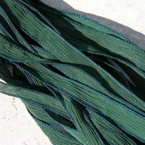 EVERGREEN Green Silk Ribbons Hand Dyed Qty 5 JamnGlass Crinkle Strings Forest