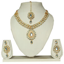 FASTINDIASHOP BOLLYWOOD INDIAN BRIDAL GOLD PLATED NECKLACE SET JEWELRY EARRINGS