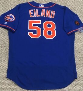 fcd09a12a EILAND size 48  58 2018 New York Mets game used jersey home blue MLB ...