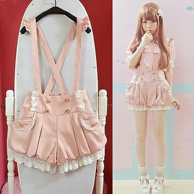 Kawaii Girls Lolita Suspender Lace Pumpkin Shorts Cute Lantern Pants Pink&Black