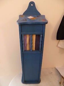 VINTAGE-FRENCH-HAND-PAINTED-WOODEN-BAGUETTE-BOX-FRENCH-BLUE-PAINTED-PAIN-BIN