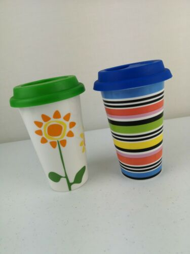 2 SAGAFORM Multi Colored Ceramic Double Wall Travel Coffee Cup Mug Beakers VGC