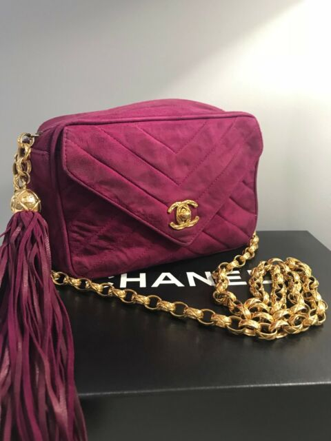 0d4f3c2598d3 Authentic Vintage CHANEL Magenta Suede Camera Tassel Flap Cross Messenger  Bag