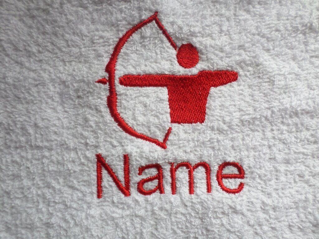 TIRO Con L'Arco ricamato su asciugamani, accappatoi accappatoi accappatoi da bagno, asciugamani con cappuccio con nome personalizzato afca48