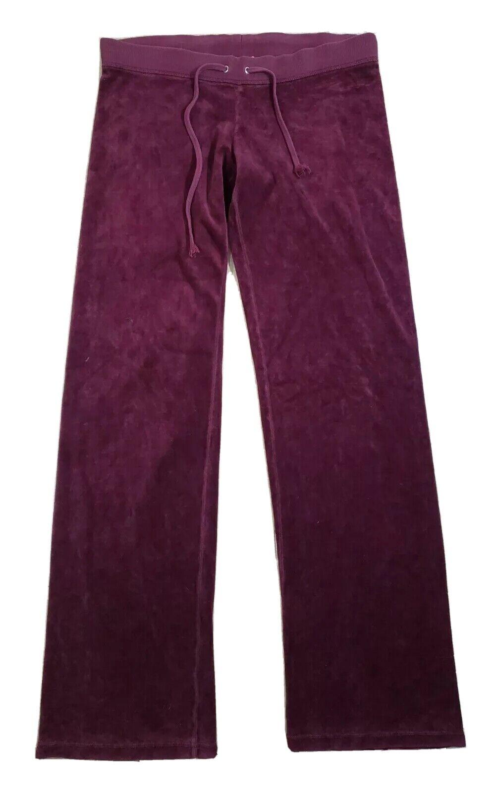 Vintage Juicy Couture Velour Petite Track Pants Purple Y2K Drawstring