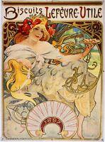 Biscuits Lefevre-utile Vintage French Nouveau Poster Mucha Art Advertisement
