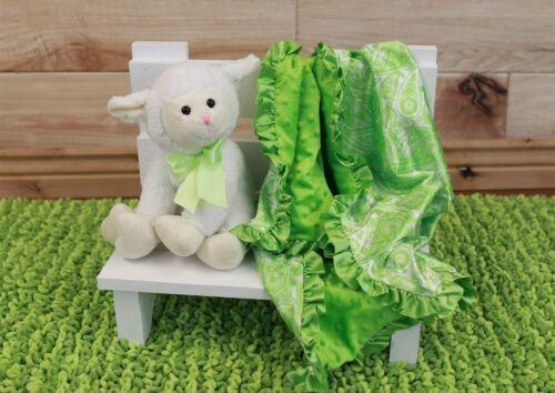 "NEW minky Nursery Baby receiving Blanket Satin Ruffle lime green boy paysley 30/"""