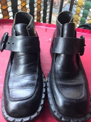 aad273bc0b2f BUNKER LEATHER size 42 Black vintage boot -  76.49