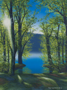 Original Acrylic Painting of a Spring Sunset 18x24 Landscape by Timothy Stanford