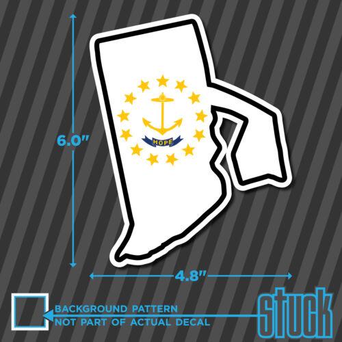 "Rhode Island State Flag Map printed vinyl decal sticker RI USA 4.8/""x6.0/"""