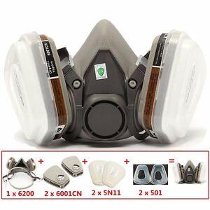 Gaz-Poussiere-Masque-Filtre-Respirateur-pr-3m-6200-Peinture-Aerosol-Demi-Visage