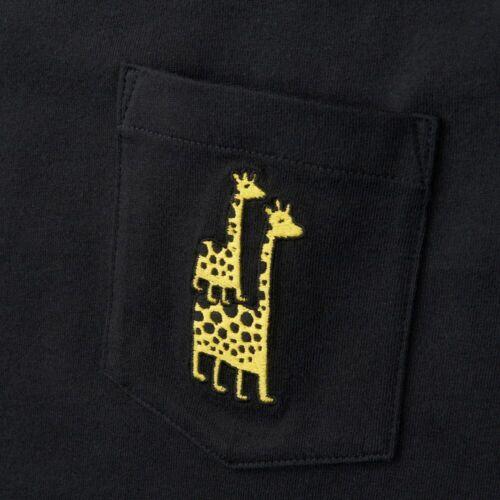 JASON POLAN x UNIQLO /'2 Giraffes/' Embroidered Pocket Men/'s Art T-Shirt M Blk NWT