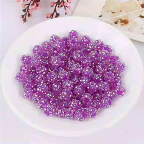 Resin Acrylic Shamballa Rhinestone Disco Ball Beads x50 Beads