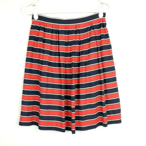 J Crew Sz 2 Skirt Silk Orange Blue White Striped P