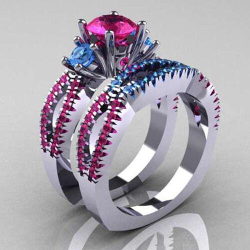 Fashion Women Silver Plated Wedding Set Rings Round Cut White Sapphire Size 4-12