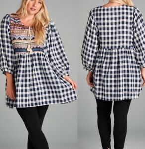Navy-White-Check-Plaid-Embroidered-Tassel-Boho-Tunic-Top-Sz-Medium