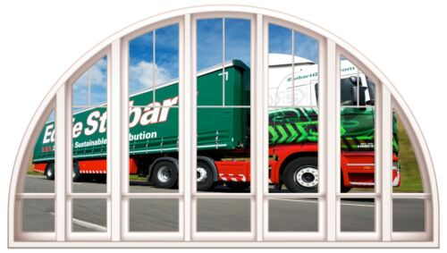 Huge 3D Arched Window Eddie Stobart Truck View Wall Stickers Mural Art Decal 283