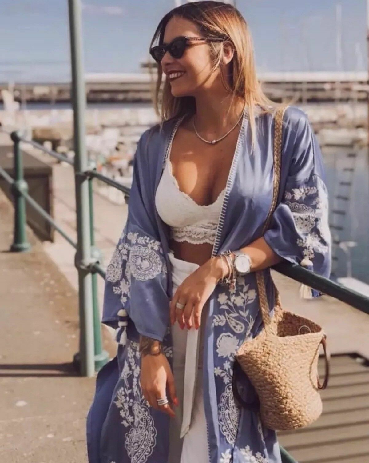 ZARA SS18 blueE LONG EMBROIDERED KIMONO BEACH COVER COVER COVER UP SIZE M REF.0881 041 41307d