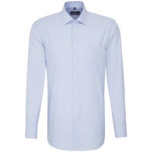 Seidensticker Herren Langarm Hemd Modern BD blau grau weiß Gestreift 113372.14