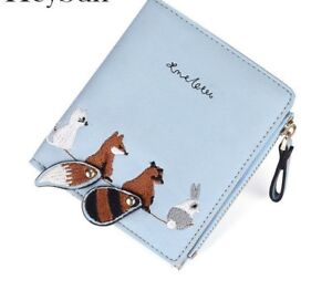 b8c98afee62f Details about Women Small Coin Purse Cute Animal Print Short Wallets Ladies  Money Card Holder