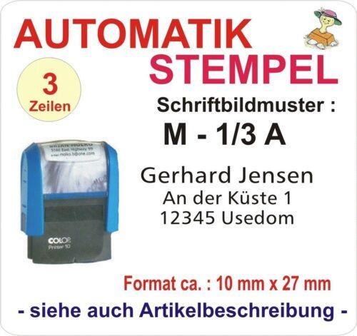 AUTOMATIKSTEMPEL BÜROSTEMPEL ADRESSENSTEMPEL FIRMENSTEMPEL STEMPEL für 3 Zeilen