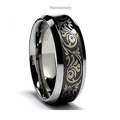 Black IP Tungsten Carbide Ring Laser Etched Florentine Concave Wedding Band 8mm