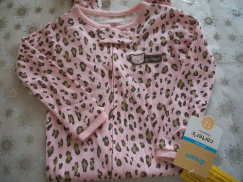 CARTER/'S ONE PIECE FOOTED GIRLS PAJAMAS ANIMAL PRINT ~ KITTY CAT ~ PURRFECT NWT