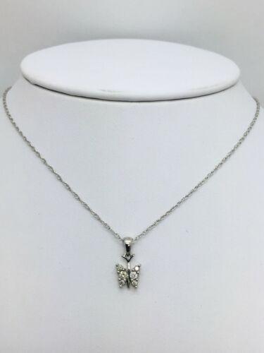 10K or Blanc /& Diamant Papillon Pendentif Avec 14K or Blanc Chaîne