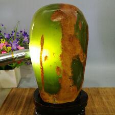 3360g  Jadeite Boulder - rough raw Cut Natural Jade Specimen + stand