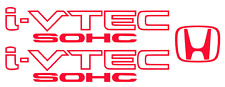 Honda I-Vtech SOHC Decal Stickers Set of 3  Civic Accord Prelude CRX SI RED