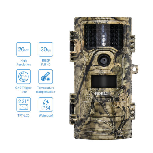 BOBLOV CT006 Trail Hunting Cam 20MP FHD Game Scouting 0.4s Trigger No Spy Hidden