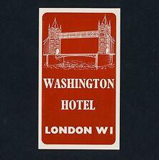 Washington Hotel LONDON England UK Tower * Old Luggage Label Kofferaufkleber
