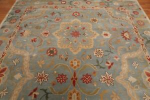 Antique-Hand-Made-Agra-Blue-Floral-Traditional-Parsian-Oriental-Wool-Area-Rug