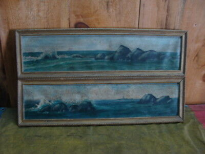 """Each Aprox 28x8""""; Signed Swanson Oil Framed Pair Of Shore Paintings"""