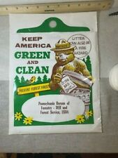 Rare Vintage Smokey The Bear Plastic Litter Bag Nos Stb Oath Dept Of Forestry