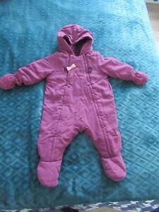 combipilote fille déperlante violette prune à capuche moufles 12 mois DPAM