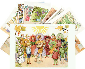 Postcards-Pack-24-cards-Small-Garden-People-by-Elsa-Beskow-Vintage-Book-CD3011