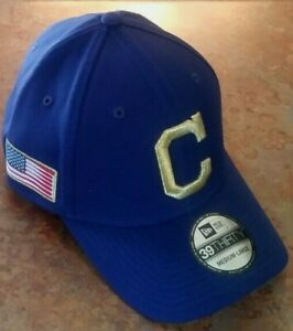 CLEVELAND-INDIANS-MLB-NEW-ERA-39THIRTY-FLAG-PATCH-FLEX-FIT-BLUE-HAT-NWT-SZ-M-L