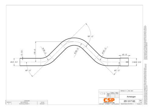 Stahl Universal Auspuff Achsrohrbogen 63.5mm 2.5/'/' Edelstahl Hinterachse