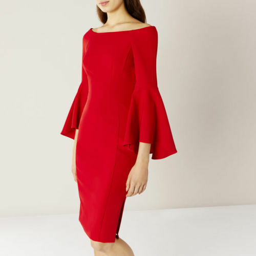 Coast Roxie Bell Sleeve rot Dress UK 6, UK 10, UK 12, UK 16